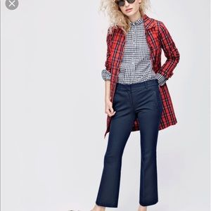 Nwot j.crew red gingham trenchcoat